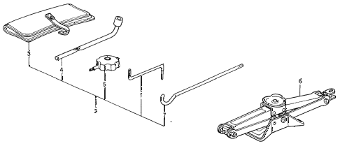 1993 accord DX 2 DOOR 4AT TOOLS - JACK diagram