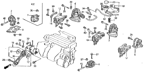 1993 accord DX 2 DOOR 4AT ENGINE MOUNT diagram