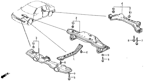 1990 accord LX 2 DOOR 5MT CROSS BEAM diagram