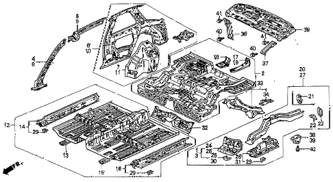 1991 accord LX 2 DOOR 5MT INNER PANEL diagram