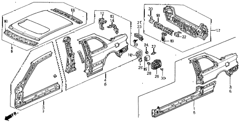 1993 accord EX 2 DOOR 5MT OUTER PANEL diagram
