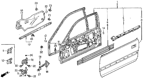 1990 accord EX 2 DOOR 5MT DOOR PANEL diagram
