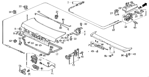 1992 accord EX 2 DOOR 5MT TRUNK LID diagram