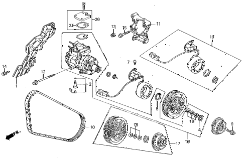 1990 accord LX 2 DOOR 5MT A/C COMPRESSOR (1) diagram