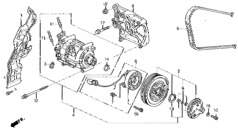 1993 accord SE 2 DOOR 4AT A/C COMPRESSOR (2) diagram