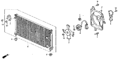 1993 accord SE 2 DOOR 4AT A/C AIR CONDITIONER (CONDENSER) diagram