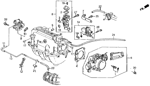 1993 accord DX 2 DOOR 5MT THROTTLE BODY diagram