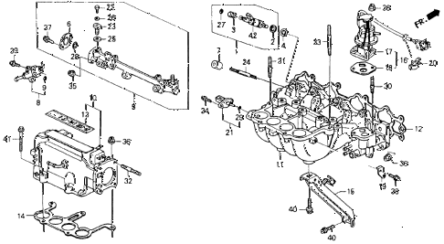 1990 accord EX 2 DOOR 5MT INTAKE MANIFOLD (1) diagram