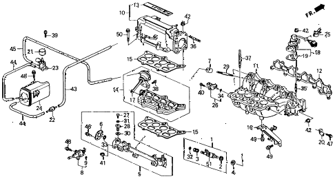 1992 accord EX 2 DOOR 4AT INTAKE MANIFOLD (2) diagram