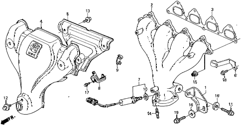 1993 accord DX 2 DOOR 5MT EXHAUST MANIFOLD (DX, LX) diagram