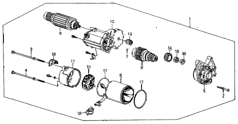 1990 accord LX 2 DOOR 5MT STARTER MOTOR (DENSO) diagram
