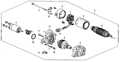 1991 accord EX 2 DOOR 5MT STARTER MOTOR (MITSUBA) diagram