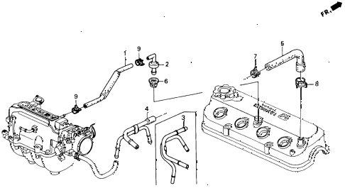 1991 accord EX 2 DOOR 5MT BREATHER TUBE diagram