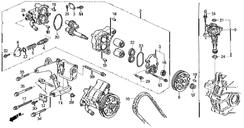 1991 accord LX 2 DOOR 5MT P.S. PUMP diagram