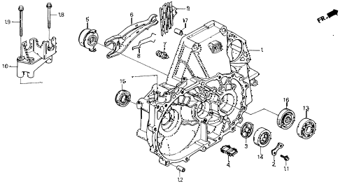 1990 accord EX 2 DOOR 5MT MT CLUTCH HOUSING diagram