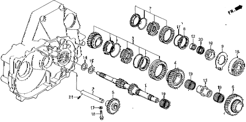 1990 accord EX 2 DOOR 5MT MT MAINSHAFT diagram