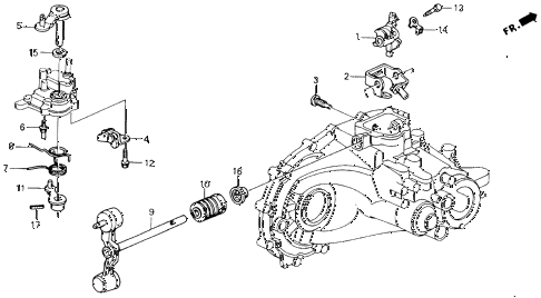 1991 accord DX 2 DOOR 5MT MT SHIFT ARM - SHIFT LEVER diagram