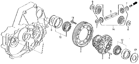 1990 accord EX 2 DOOR 5MT MT DIFFERENTIAL GEAR diagram