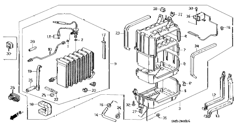 1990 accord DX 2 DOOR 5MT A/C COOLING UNIT diagram