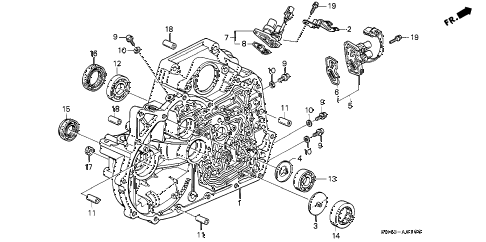 1990 accord DX 4 DOOR 4AT AT TORQUE CONVERTER HOUSING diagram