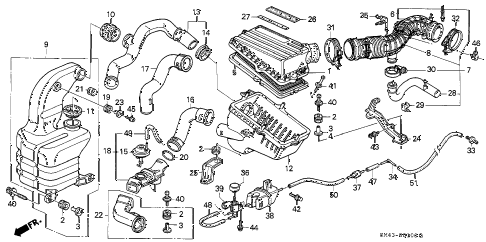 1992 accord EX 4 DOOR 4AT AIR CLEANER diagram