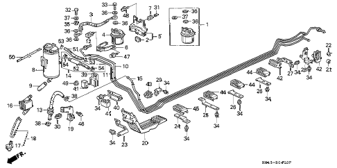 1992 accord EX 4 DOOR 4AT FUEL PIPE diagram