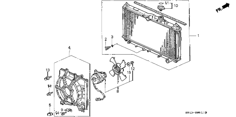 1992 accord LX 4 DOOR 4AT RADIATOR (TOYO) diagram