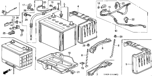 1993 accord LX 4 DOOR 5MT BATTERY diagram