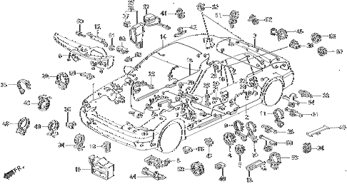 1991 accord DX 4 DOOR 5MT WIRE HARNESS diagram