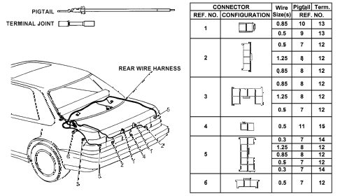 1992 accord DX 4 DOOR 5MT ELECTRICAL CONNECTORS (RR.) diagram