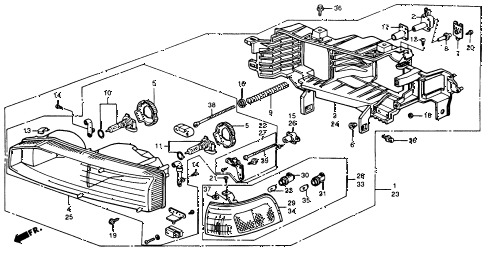 1991 accord DX 4 DOOR 4AT HEADLIGHT (1) diagram