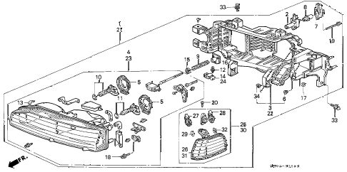 1993 accord LX(ANNIVERSARY ED 4 DOOR 4AT HEADLIGHT (2) diagram