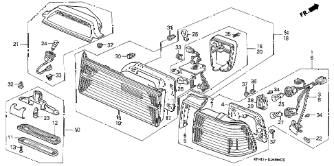 1990 accord DX 4 DOOR 4AT TAILLIGHT (1) diagram