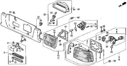 1993 accord EX 4 DOOR 4AT TAILLIGHT (2) diagram