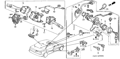 1990 accord EX 4 DOOR 4AT COMBINATION SWITCH diagram