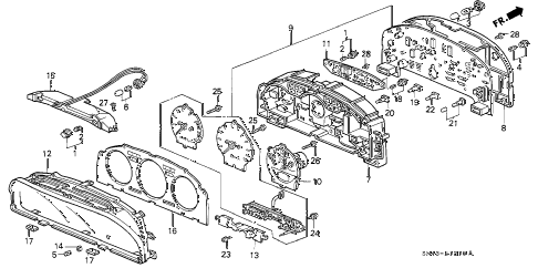 1992 accord DX 4 DOOR 5MT METER COMPONENTS (NIPPON SEIKI) diagram