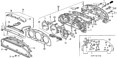 1991 accord EX 4 DOOR 4AT METER COMPONENTS (DENSO) diagram