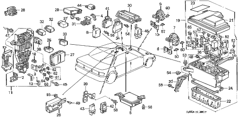 1993 accord DX 4 DOOR 5MT FUSE BOX - RELAY diagram