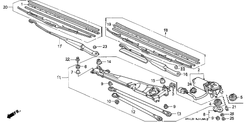 1990 accord EX 4 DOOR 4AT FRONT WINDSHIELD WIPER diagram