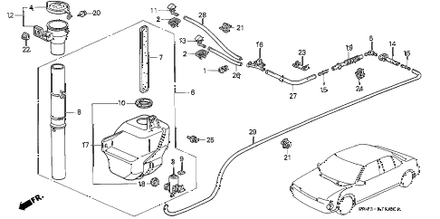 1993 accord SE 4 DOOR 4AT WINDSHIELD WASHER diagram