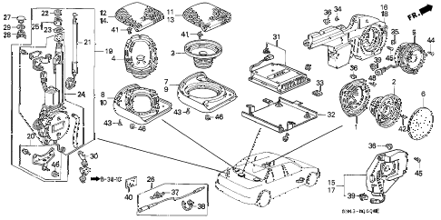 1991 accord SE 4 DOOR 4AT RADIO ANTENNA - SPEAKER diagram
