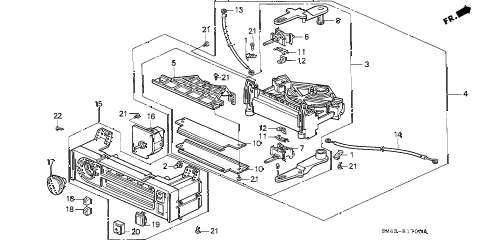 1991 accord DX 4 DOOR 5MT HEATER CONTROL (LEVER) diagram
