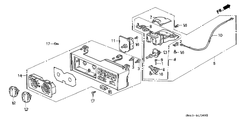 1993 accord EX 4 DOOR 4AT HEATER CONTROL (BUTTON) diagram