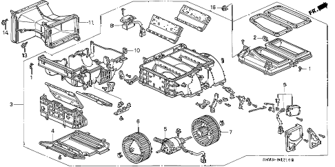 1992 accord DX 4 DOOR 5MT HEATER BLOWER diagram