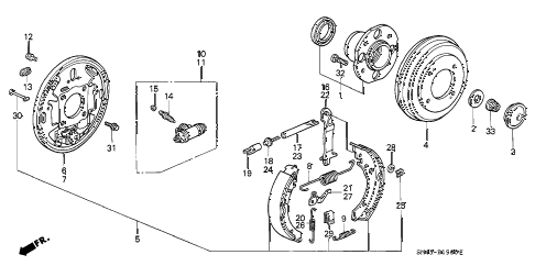 1993 accord DX 4 DOOR 4AT REAR BRAKE (DRUM) diagram