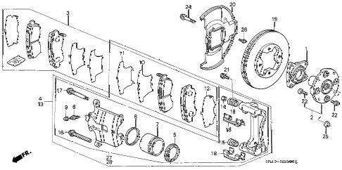 1991 accord DX 4 DOOR 4AT FRONT BRAKE (AKEBONO) diagram