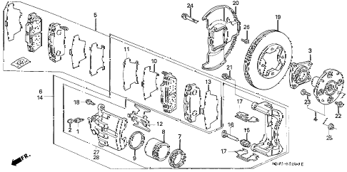1991 accord EX 4 DOOR 5MT FRONT BRAKE (2) diagram