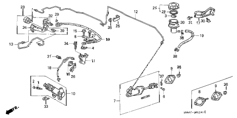 1990 accord EX 4 DOOR 5MT CLUTCH MASTER CYLINDER diagram