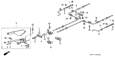 1992 accord EX 4 DOOR 4AT PARKING BRAKE diagram