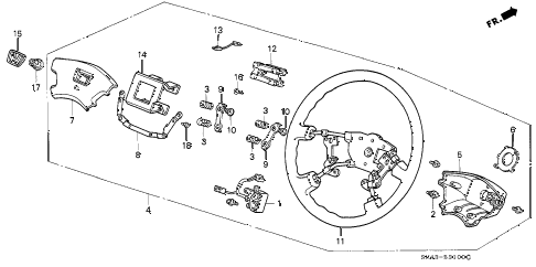 1991 accord EX 4 DOOR 4AT STEERING WHEEL (1) diagram